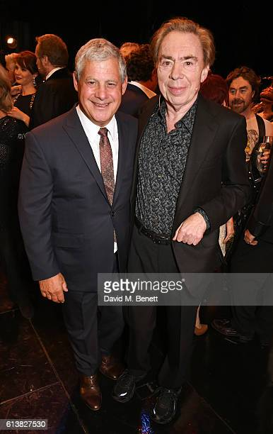 Sir Cameron Mackintosh and Lord Andrew Lloyd Webber pose onstage at The Phantom Of The Opera 30th anniversary charity gala performance in aid of The...