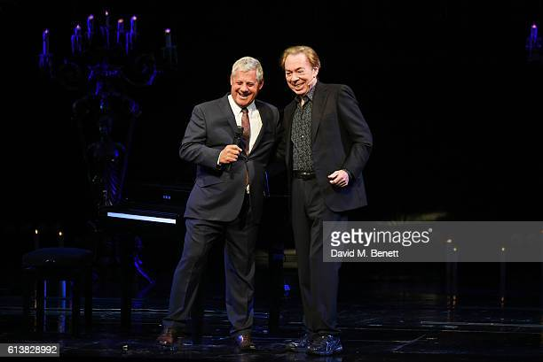Sir Cameron Mackintosh and Lord Andrew Lloyd Webber speak onstage at The Phantom Of The Opera 30th anniversary charity gala performance in aid of The...