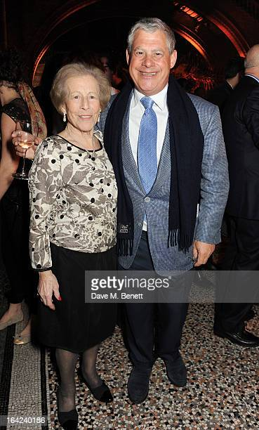 Sir Cameron Mackintosh and mother Diana Mackintosh attend an after party following the press night performance of 'The Book of Mormon' at the Natural...