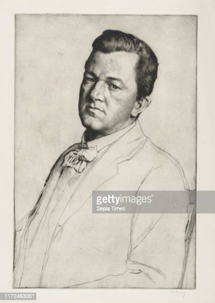 Sir Charles Holroyd, 1909. William Strang . Drypoint.