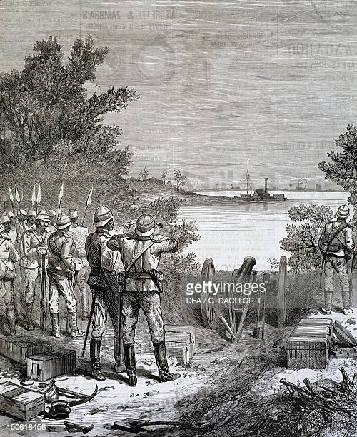 Sir Charles Wilson and his entourage on the island of Meruat after the sinking of their ship March 1885 Colonial wars Sudan 19th century