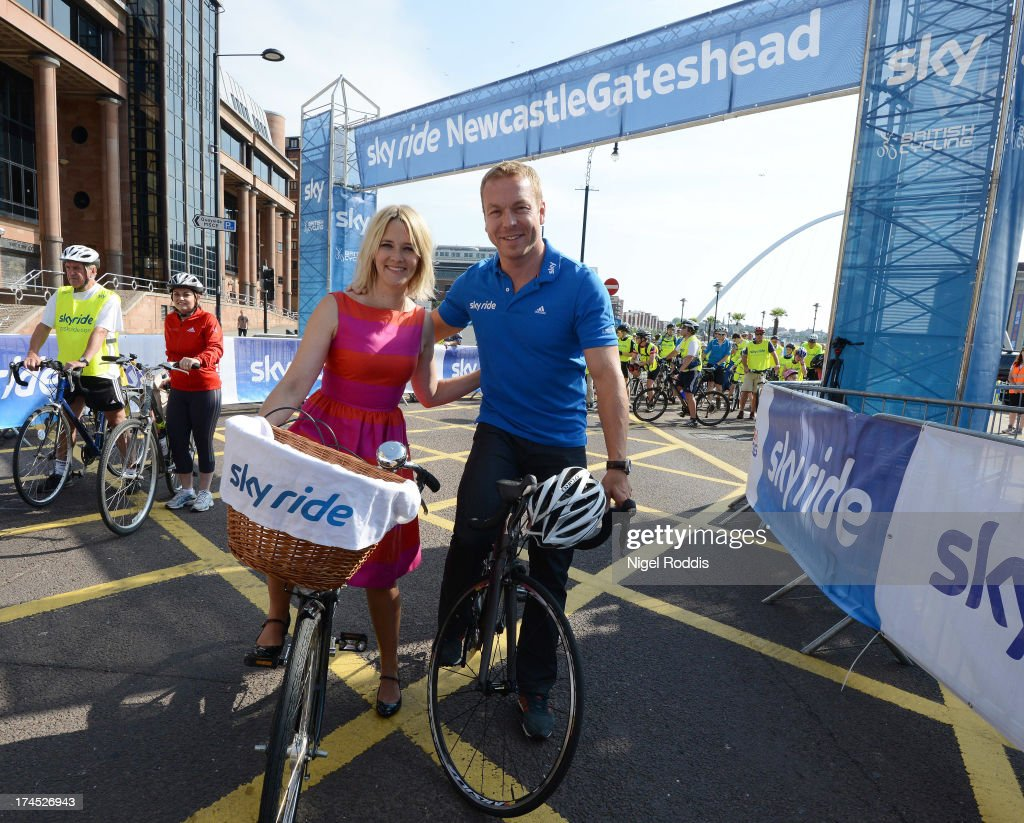 Sir Chris Hoy (R) and Edith Bowman take part in Sky Ride NewcastleGateshead on July 27, 2013 in Newcastle Upon Tyne, England. Thousands of participants joined presenter Edith Bowman and Sir Chris Hoy at Sky Ride NewcastleGateshead today - a free, fun, family cycling event from British Cycling and Sky held in partnership with Newcastle City Council and Gateshead Council, offering people of all ages and abilities the chance to cycle around the traffic-free cities. Find a free organised bike ride near you and see how you can get involved at www.goskyride.com - there's something for everyone.