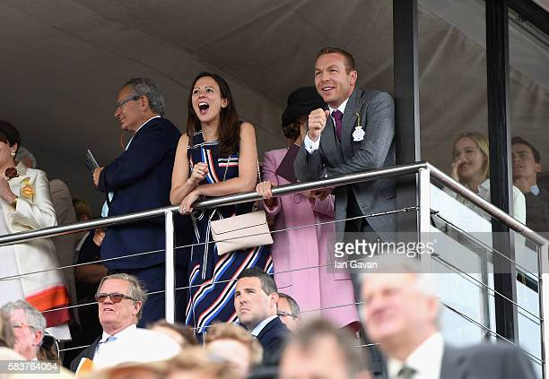 Sir Chris Hoy and Sarra Hoy attend the Qatar Goodwood Festival 2016 at Goodwood on July 27 2016 in Chichester England