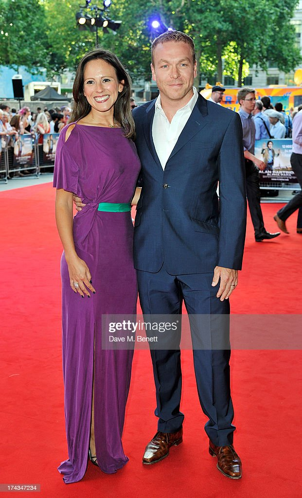 Sir Chris Hoy (R) and Sarra Kemp attend the London Premiere of 'Alan Partidge: Alpha Papa' at Vue Leicester Square on July 24, 2013 in London, England.