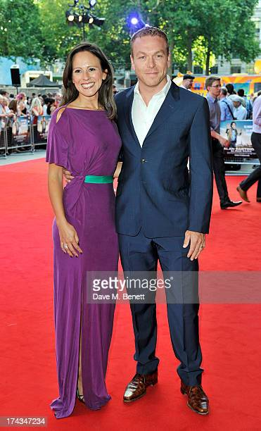 Sir Chris Hoy and Sarra Kemp attend the London Premiere of 'Alan Partidge: Alpha Papa' at Vue Leicester Square on July 24, 2013 in London, England.