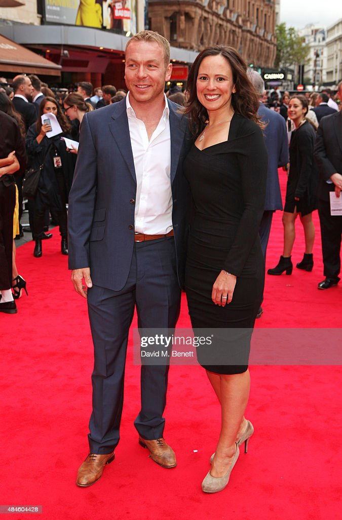 Sir Chris Hoy (L) and Sarra Kemp attend the World Premiere of 'The Bad Education Movie' at Vue West End on August 20, 2015 in London, England.