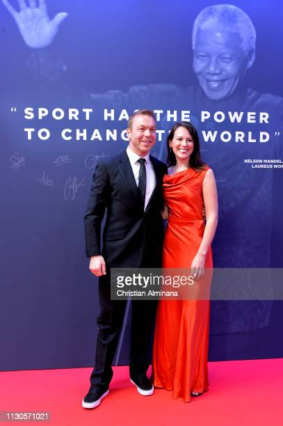 Sir Chris Hoy at the Nelson Mandela wall during the 2019 Laureus World Sports Awards on February 18 2019 in Monaco Monaco