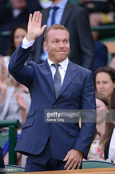 Sir Chris Hoy attends on Day 6 of the Wimbledon Lawn Tennis Championships at the All England Lawn Tennis and Croquet Club on June 29, 2013 in London,...