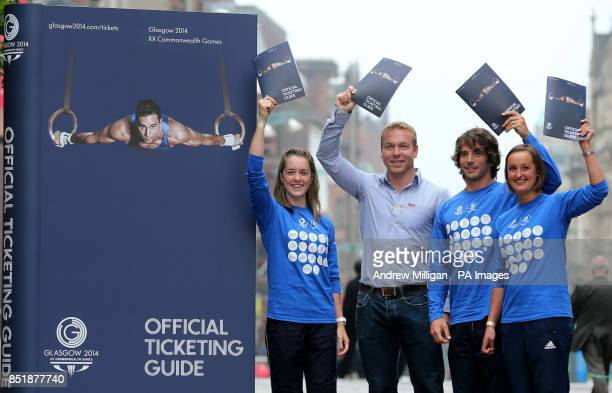 Sir Chris Hoy helps launch the Official Ticketing guide with athletes Jade Nimmo Colin Gregor and Susan Egelstaff during a photocall on Buchanan...