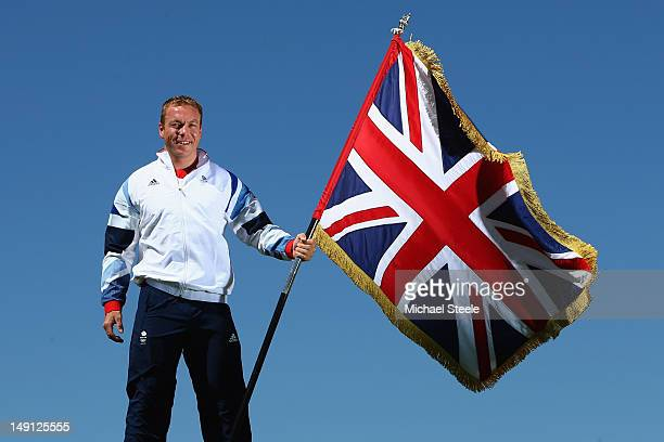 Sir Chris Hoy is announced as Team GB Olympic London 2012 Flag Bearer at Celtic Manor Resort on July 23, 2012 in Newport, Wales.