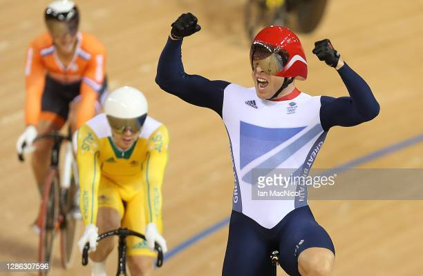 Sir Chris Hoy of Great Britain celebrates after winning the final of the Men's Keirin Track Cycling on Day 11 of the London 2012 Olympic Games at...