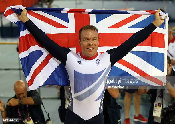 Sir Chris Hoy of Great Britain celebrates his victory in final of the men's Keirin during Day 11 of the London 2012 London Olympics at the Veledrome...