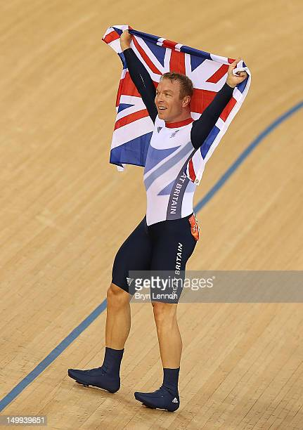 Sir Chris Hoy of Great Britain celebrates winning the Gold medal in the Men's Keirin Track Cycling Final on Day 11 of the London 2012 Olympic Games...