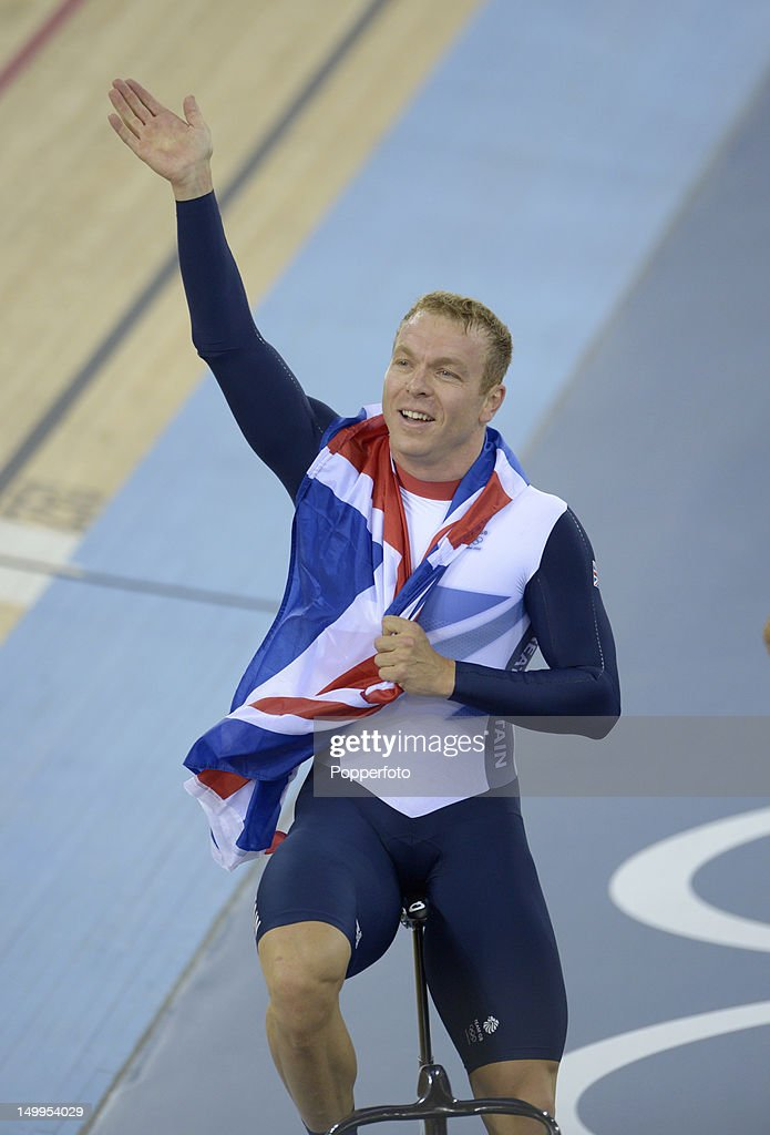 Sir Chris Hoy of Great Britain celebrates winning the Gold medal in the Men's Keirin Track Cycling Final on Day 11 of the London 2012 Olympic Games at Velodrome on August 7, 2012 in London, England.