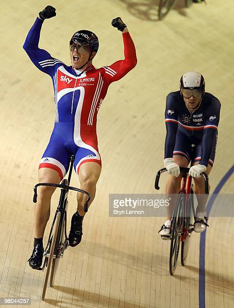 Sir Chris Hoy of Great Britain celebrates winning the Men's Keirin on Day Two of the UCI Track Cycling World Championships at the Ballerup Super...