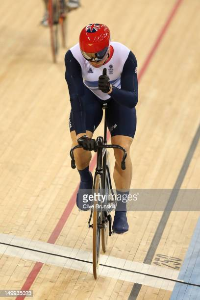 Sir Chris Hoy of Great Britain celebrates winning the Men's Keirin Track Cycling Second Round on Day 11 of the London 2012 Olympic Games at Velodrome...