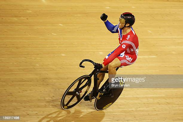Sir Chris Hoy of Great Britain celebrates winning the Men's Sprint Finals during the UCI Track Cycling World Cup - LOCOG Test Event for London 2012...