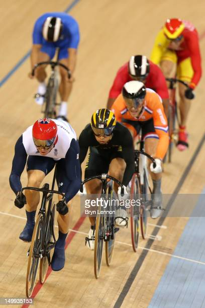 Sir Chris Hoy of Great Britain competes in the Men's Keirin Track Cycling Second Round on Day 11 of the London 2012 Olympic Games at Velodrome on...