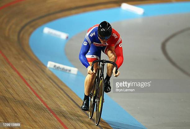 Sir Chris Hoy of Great Britain in action during qualifying for the Men's Sprint during day two of the 2011 Track Cycling European Championships at...