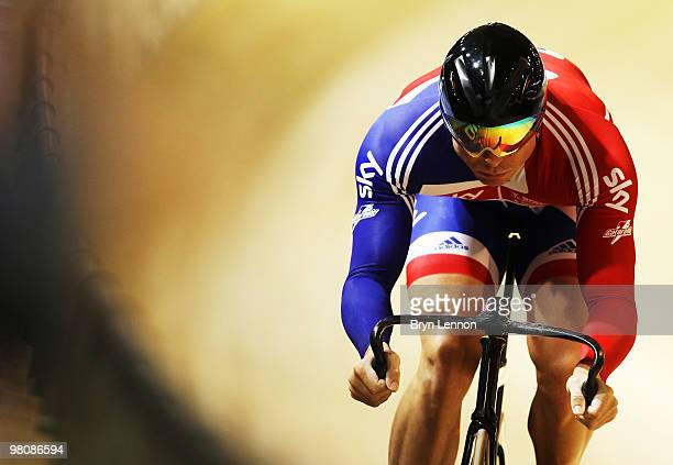 Sir Chris Hoy of Great Britain in action during qualifying for the Men's Sprint on day four of the UCI Track Cycling World Championships at the...