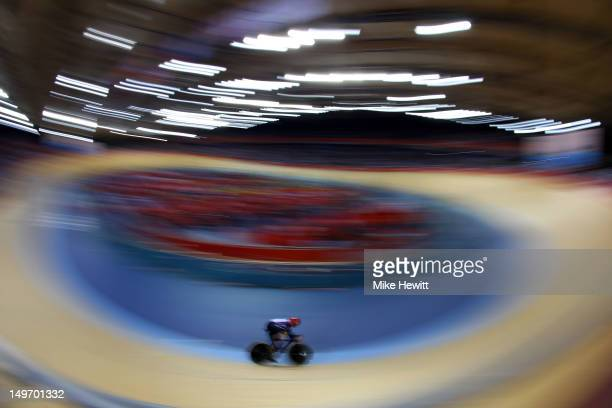 Sir Chris Hoy of Great Britain sets a new world record in the Men's Team Sprint Track Cycling semifinal on Day 6 of the London 2012 Olympic Games at...