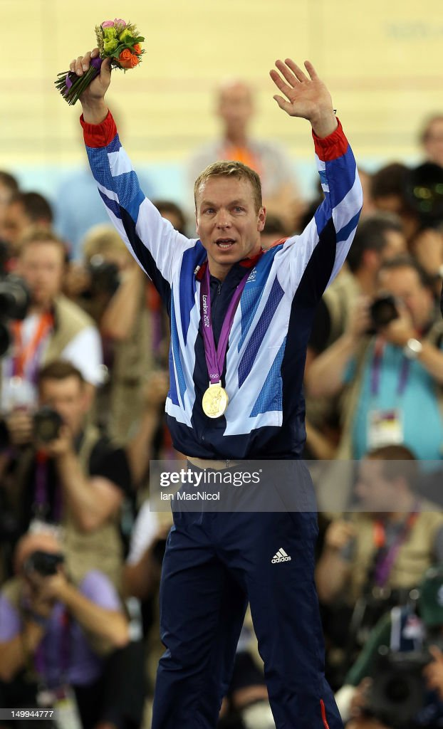 Sir Chris Hoy of Great Britain stands on the podium with the gold medal he won in final of the men's Keirin during Day 11 of the London 2012 London Olympics at the Veledrome on August 07, 2012 in London, England.