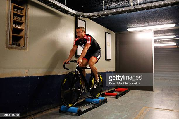 Sir Chris Hoy of Great Britain warms up prior to racing during the Rotterdam 6 Day Cycling at Ahoy Rotterdam on January 3 2013 in Rotterdam...