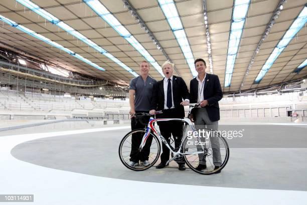 Sir Chris Hoy Olympic gold medal winning track cyclist Boris Johnson the Mayor of London and Lord Sebastian Coe the chair of the London 2012...