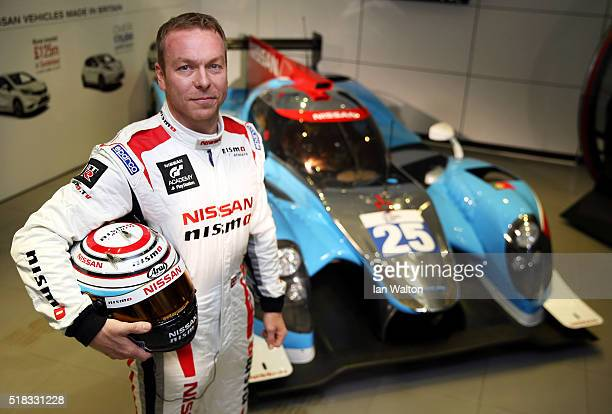 Sir Chris Hoy poses during a press conference to announce the Algarve Pro Racing Nissan LMP2 driver lineup for Le Mans at the Nissan Innovation...