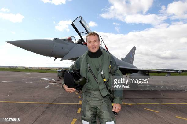 Sir Chris Hoy prepares to fly in a Typhoon FGR4 jet at RAF Leuchars with 6 Squadron on August 22 2012 in Leuchars Scotland United Kingdom