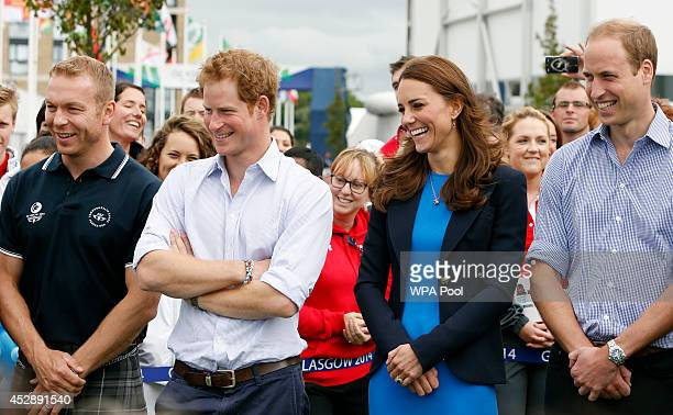 Sir Chris Hoy Prince Harry Catherine Duchess of Cambridge and Prince William Duke of Cambridge look on during a visit to the Commonwealth Games...