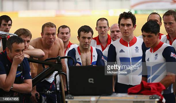 Sir Chris Hoy ,Ross Edgar ,Geraint Thomas and Peter Kennaugh members of Team GB Track Cycling watch the finishing stages of the Tour de France during...