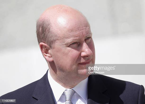 Sir Christopher Geidt looks on during a visit by Queen Elizabeth II and Prince Philip, Duke of Edinburgh to Government Buildings on Merrion Street on...