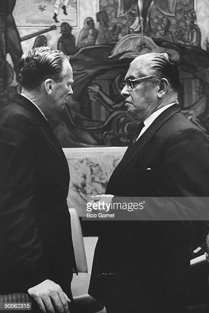 Sir Claude S Corea and Sir Pierson Dixon at United Nations security council meeting