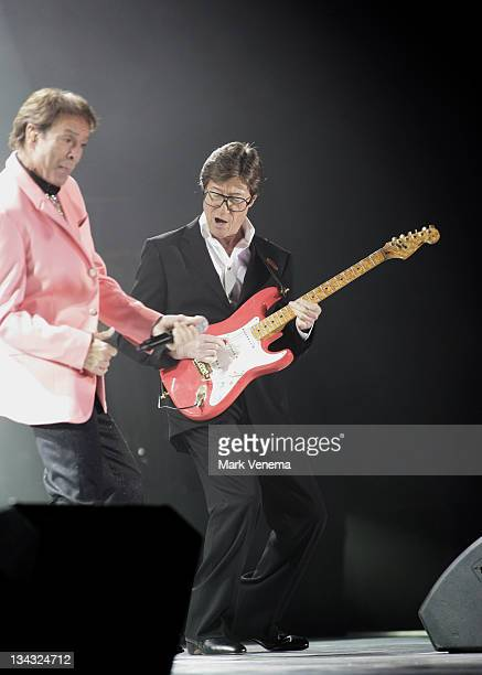 Sir Cliff Richard and Hank Marvin perform live with The Shadows at Ahoy on November 10 2009 in Rotterdam Netherlands
