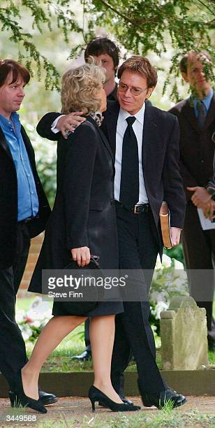 Sir Cliff Richard arrives at the Funeral of Caron Keating following her death from breast cancer last week at Hever Church in Edenbridge on April 20...