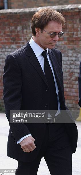 Sir Cliff Richard attends the Funeral of Caron Keating following her death from breast cancer last week at Hever Church in Edenbridge on April 20...
