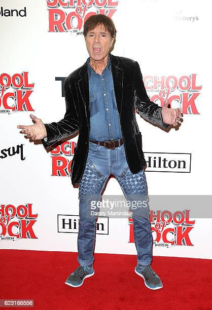 Sir Cliff Richard attends the opening night of 'School Of Rock The Musical' at The New London Theatre Drury Lane on November 14 2016 in London England