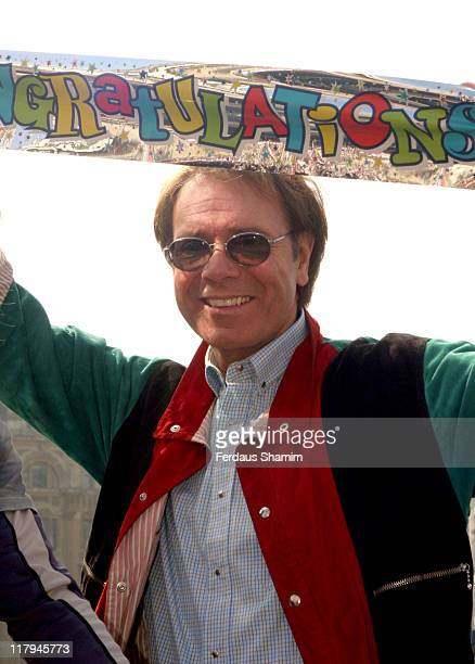 Sir Cliff Richard during A New World Record for Cycling Photocall at Trafalgar Square in London Great Britain