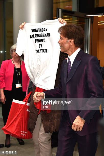 Sir Cliff Richard leaving The Royal Courts of Justice on April 12 2018 in London England