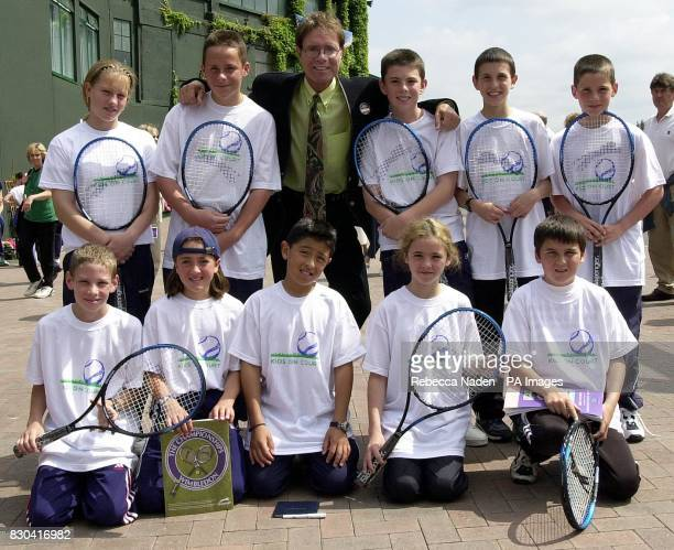 Sir Cliff Richard meets a group of young tennis players at Wimbledon who are receiving coaching from his charity the Cliff Richard Tennis Foundation...