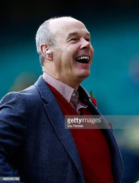 Sir Clive Woodward enjoys the atmosphere ahead of the 2015 Rugby World Cup Final match between New Zealand and Australia at Twickenham Stadium on...
