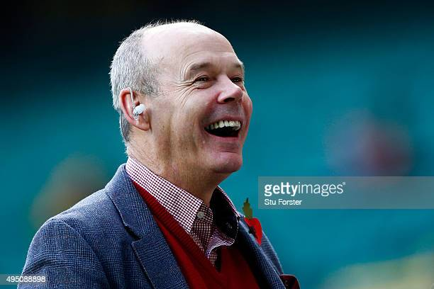Sir Clive Woodward enjoys the prematch build up at the 2015 Rugby World Cup Final match between New Zealand and Australia at Twickenham Stadium on...