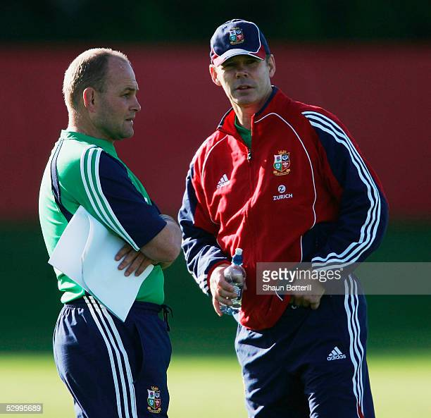 Sir Clive Woodward head Lions coach with Andy Robinson coach during training at the Onewa Domain on May 29 2005 in Auckland New Zealand