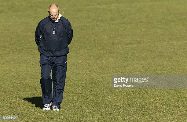 Sir Clive Woodward the England Head Coach pictured during the England training session at King's College Otahuhu on June 16 2004 in Auckland New...