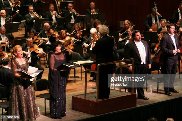 """Sir Colin Davis conducting London Symphony Orchestra in Verdi's """"Requiem"""" at Avery Fisher Hall on Wednesday night, September 28, 2005.Soloists are..."""