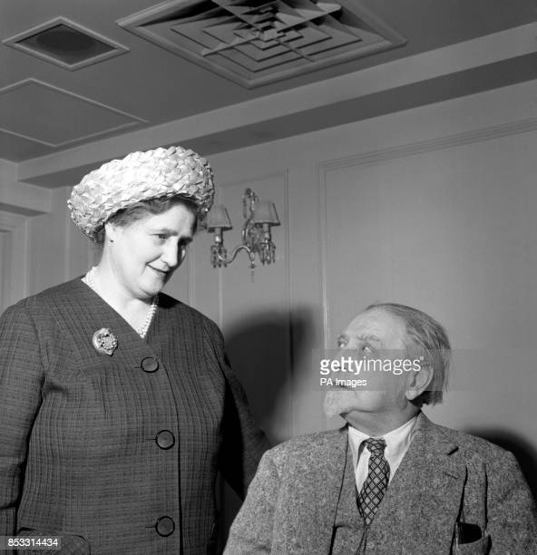 Sir Compton MacKenzie, 79-year-old author who has been chosen as one of the two Scots Of The Year, with his wife, Lady MacKenzie, at Westbury Hotel...