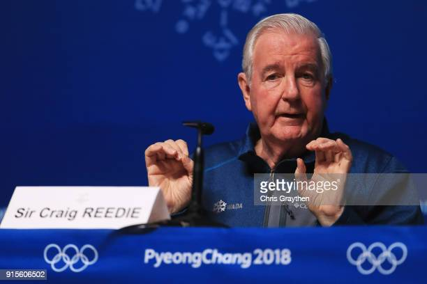 Sir Craig Reedie the President of the World Antidoping Agency attends a press conference at the Main Press Centre during previews ahead of the...