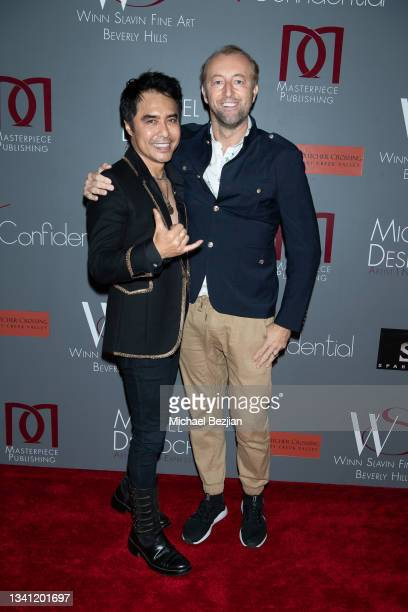 """Sir Daniel Winn and Prince Mario Max arrive at Premiere Exhibition Of Master Artist Michel T. Desroches """"The Space Within"""" on September 18, 2021 in..."""