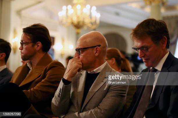 Sir Dave Brailsford, general manager of Team Ineos looks on during a press conference regarding INEOS and Mercedes future partnership at The Royal...